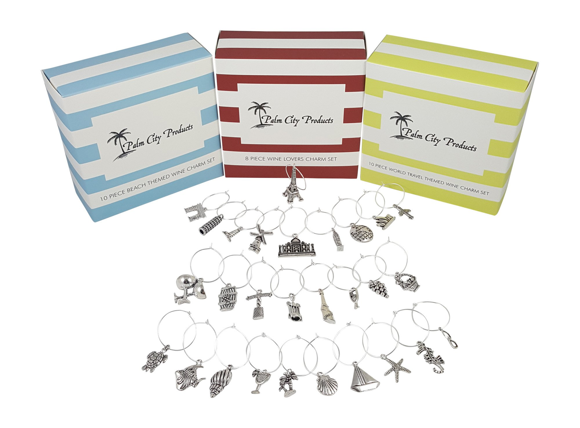 Deluxe Wine Charm Set - 28 Pieces Total includes Beach, Wine Lover, and World Traveler Themes by Palm City Products