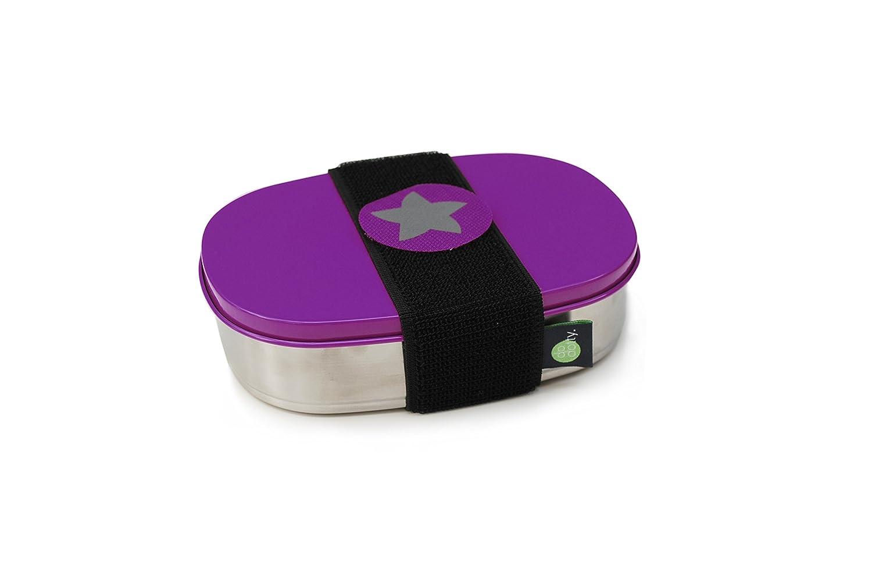 do dotty BOX schadstofffreie Edelstahl Brotdose (16, 5x12x4) mit Trennsteg und Klettmotiv zum individualisieren für Kindergarten und Schule (grün) kjomizo
