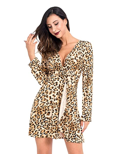 51d4fbc44f Image Unavailable. Image not available for. Color  Lomantise Leopard Print  Long Sleeve Dresses for Women ...