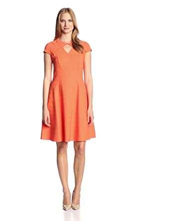 Julian Taylor Women's Short Sleeve Cutout Fit and Flare Dress, Orange, 6