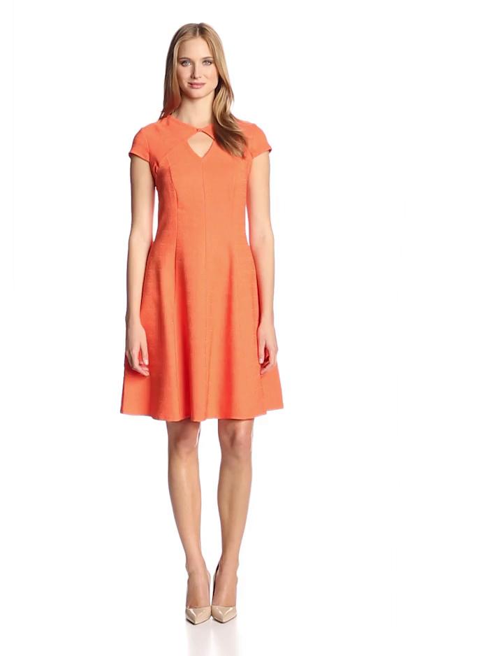 Julian Taylor Women's Short Sleeve Cutout Fit and Flare Dress, Orange, 12