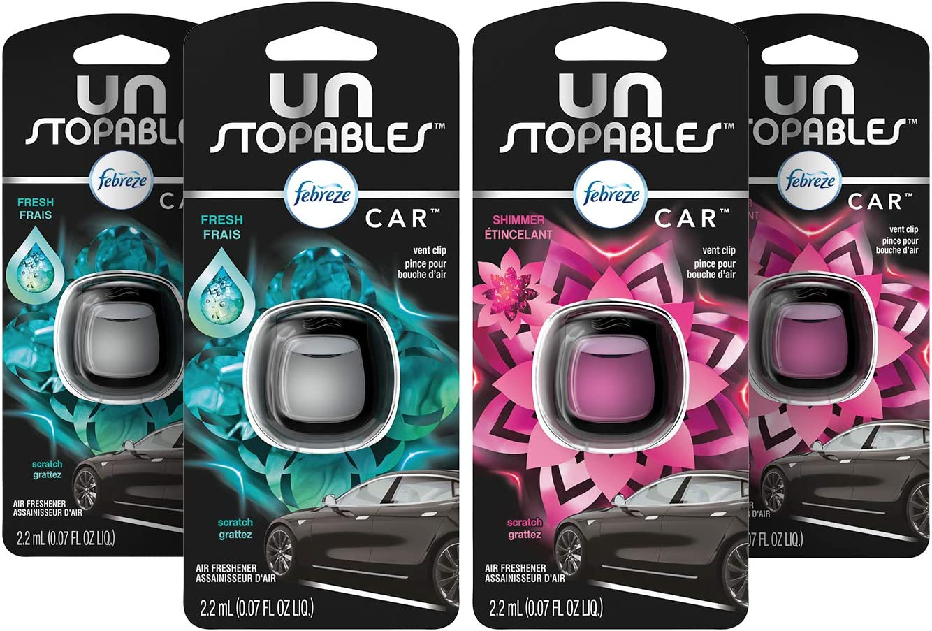 Febreze Car Unstopables Air Freshener Vent Clips, 2 Fresh and Shimmer Scent, 4 Count