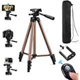 Kwithan 50 Inch Aluminum Tripod, Video Tripod for Cellphone and Camera, Universal Tripod with Wireless Remote & Cellphone Hol