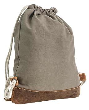reich und großartig ganz nett Original Gusti Turnbeutel Leder Studio Lukas Sporttasche Beutel Rucksack grau  2M67-20-19