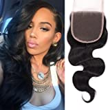 "Mike & Mary Top 7A Brazilian Virgin Hair Top Lace Closure Piece Body Wave Size 4x4"" Natural Color Free Part Closure"