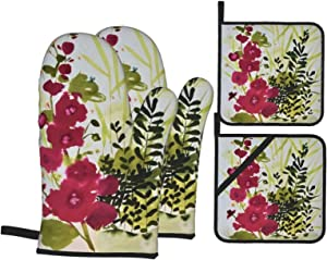 Lebenzat Oven Mitts and Pot Holders 4pcs Set,Food Safe-Ink Flowers and Plants Baking Gloves with Soft Inner Lining,Waterproof Polyester Oven Gloves for Kitchen,Baking,Cooking,BBQ