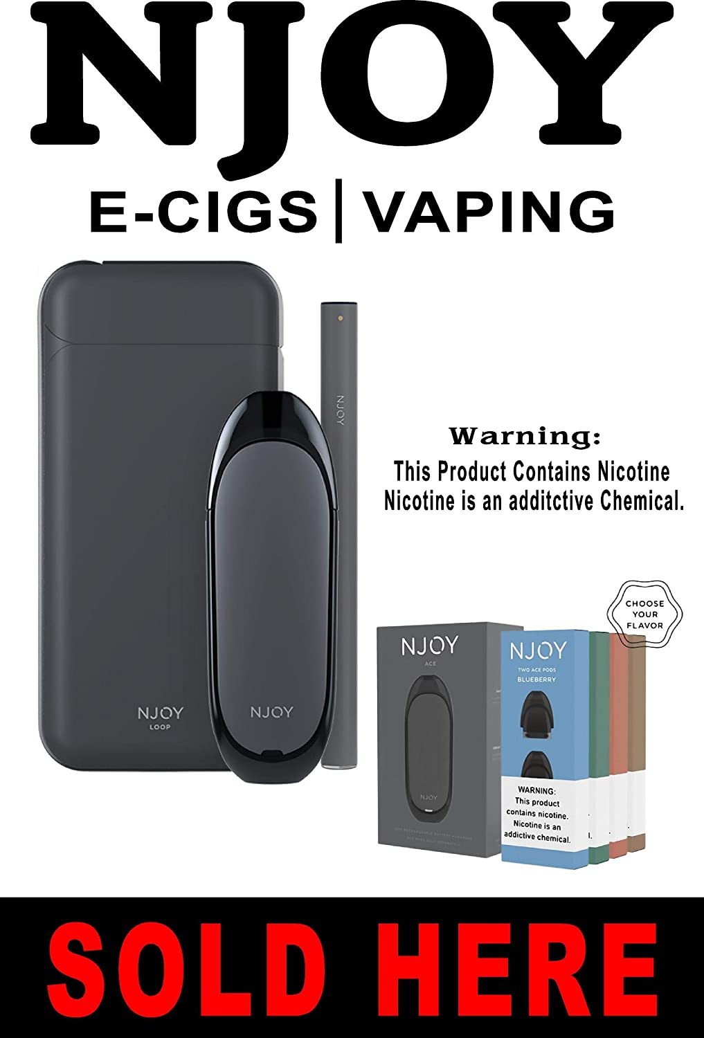 Amazon com: NJOY e-cig Sold Here Poster Sign 24