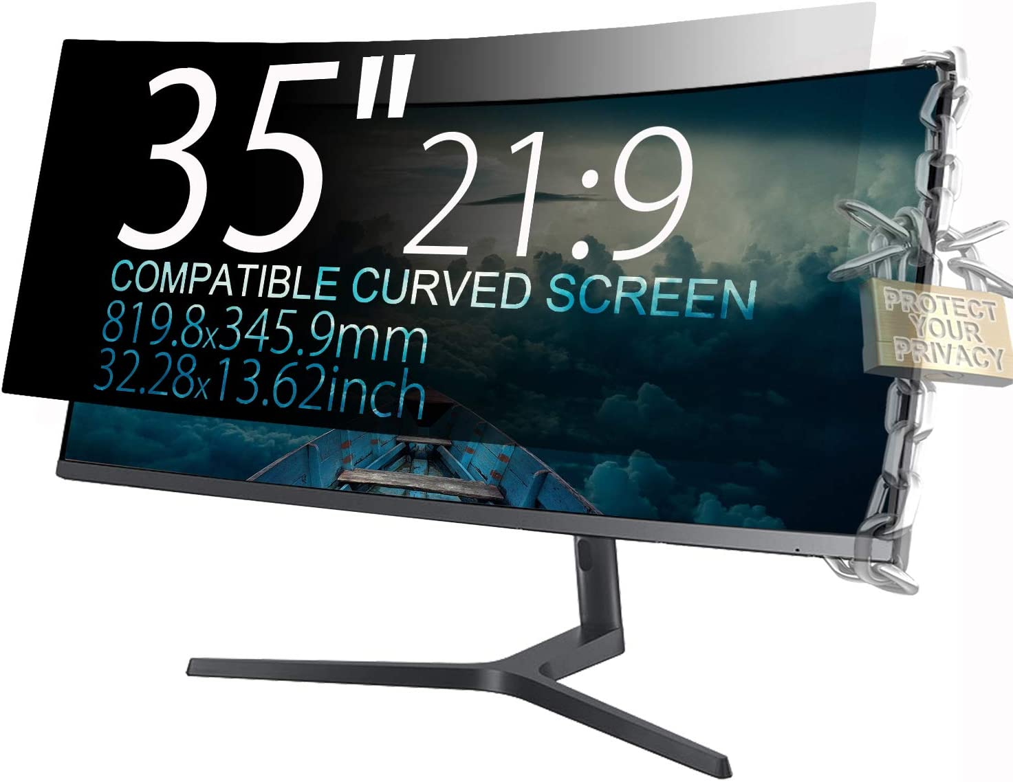 """MAYAMANG 35"""" (21:9 Aspect Ratio) Privacy Screen Protector for Straight/Curved Screen Computer Monitor - 32.28x13.62 inch/819.8x345.9 mm - Privacy Filter Display Filter Film"""