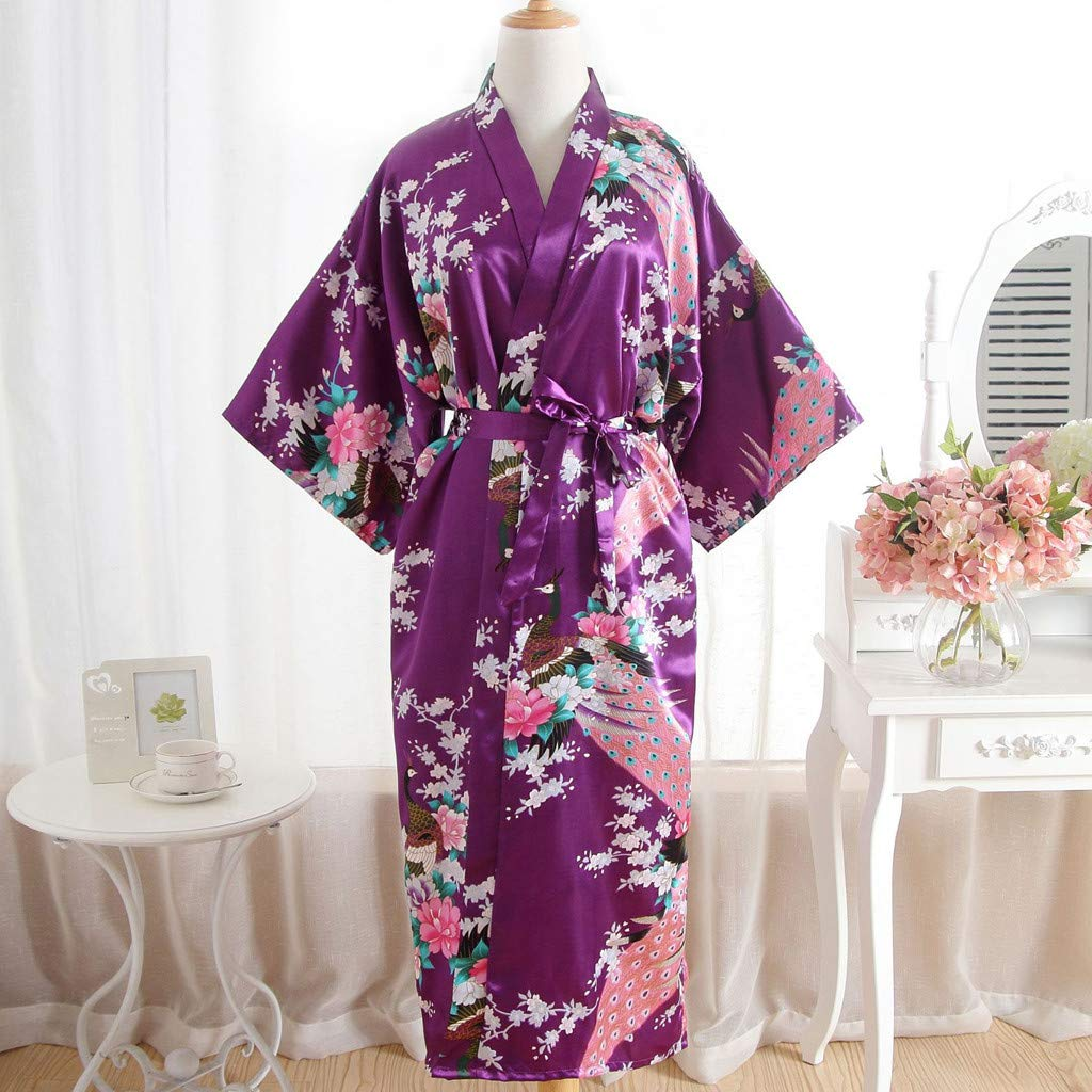 AmaSells Ladies Print Kimono Long Sleep Gown