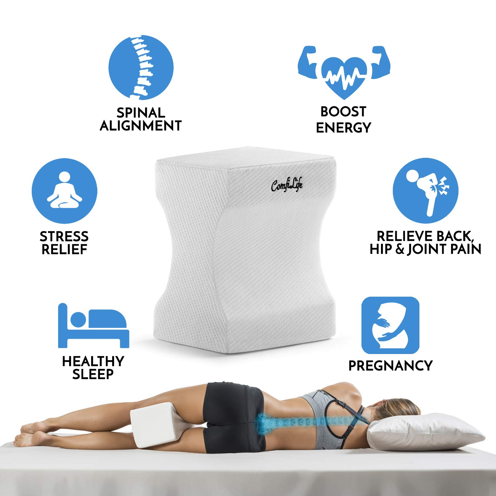 Comfilife Orthopedic Knee Pillow For Sciatica Relief Back