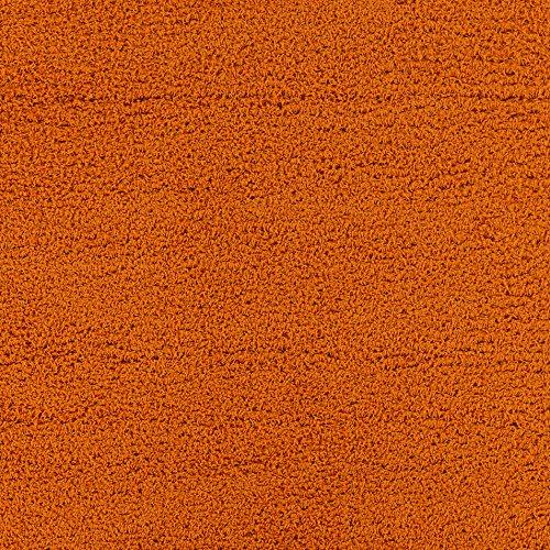 "Ottomanson Soft Cozy Color Solid Shag Area Rug Contemporary Living and Bedroom Soft Shag Area Rug, Orange, 6'7""L X 9'3""W"