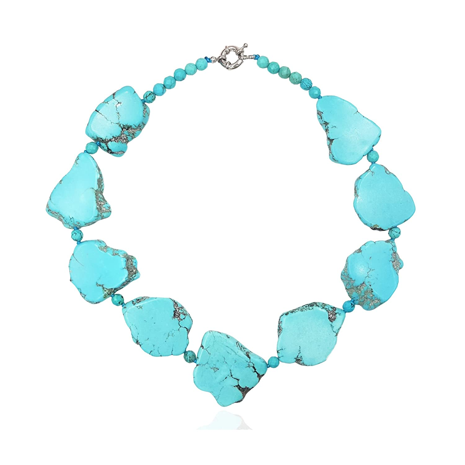 None Lii Ji 19 Big Irregular Shape Blue Simulated Turquoise Howlite Statement Necklace B07CWB7X8R_US