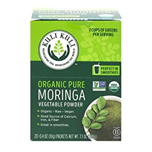 Kuli Kuli Pure Moringa Organic Vegetable Powder, Organic, Raw, Vegan, 3g Complete Plant Protein and 1 Full Serving of Veggies Per Packet, Soy and Gluten-Free, 0.4 Ounce, Pack of 20