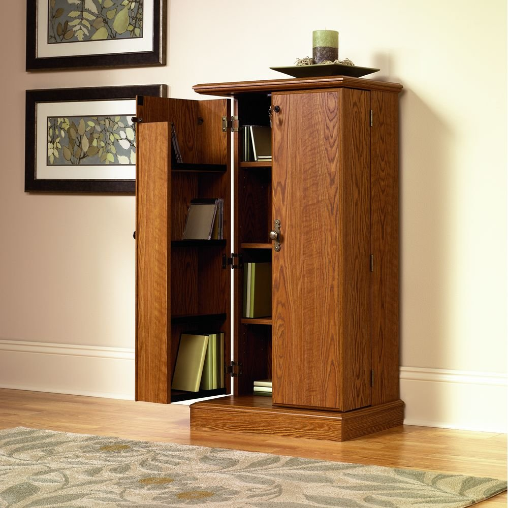 Cherry Wood Dvd Storage Cabinet Amazoncom Sauder Orchard Hills Multimedia Storage Cabinet