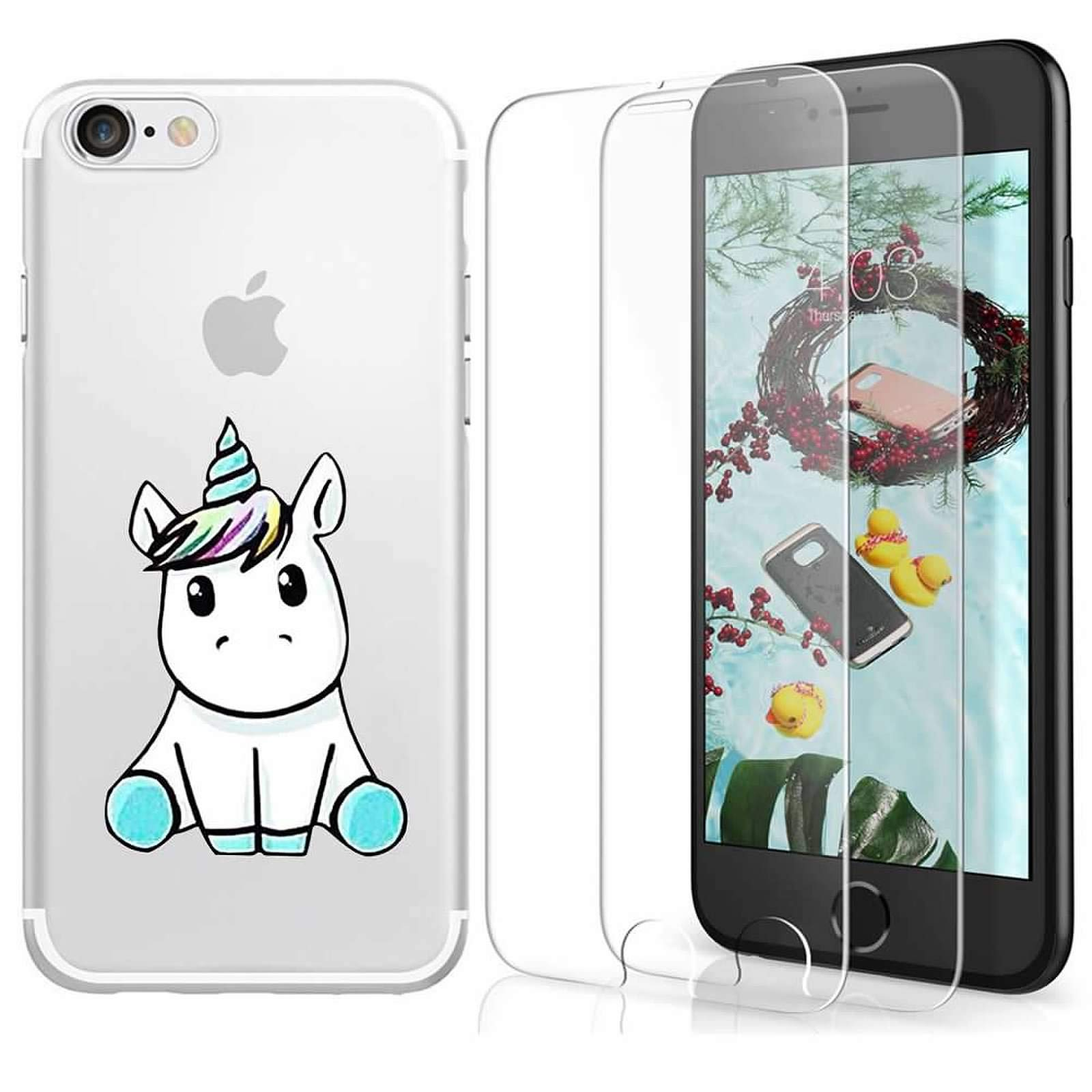 iPhone 6 Plus / 6s Plus Case with 2 Pack Glass Screen Protector Phone Case for Men Women Girls Clear Soft TPU with Protective Bumper Cover Case for iPhone 6 Plus / 6s Plus-Unicorn
