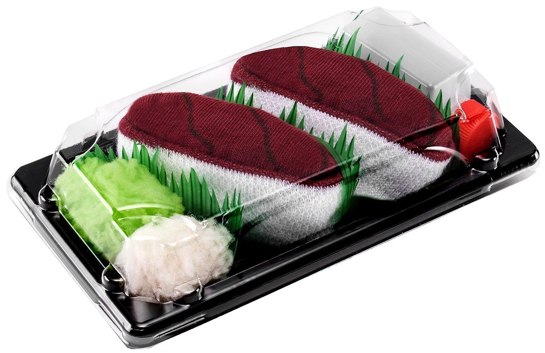 1 paio di CALZINI SUSHI: Nigiri Tonno 41-46 Calze fantasia di COTONE|per Donna e Uomo Certificato OEKO-TEX Sushi Socks Box Idea REGALO Divertente Prodotto in Europa Dimensioni: EU 36-40