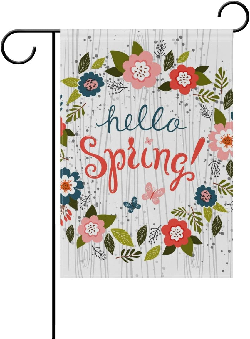 ALAZA U Life Hello Spring Floral Flowers Leaves Garden Yard Flag Banner for Outside House Flower Pot Double Side Print 12 x 18 Inch