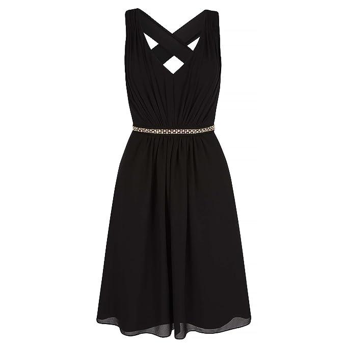 Yumi - Vestido a media pierna con pedrería para mujer (40/Negro)