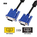 VGA Cable, SZCTKlink VGA to VGA Monitor Extension Cable for HDTVs, Projectors, LCD monitors, Video Displays (4.57m, Black)-C1016-01-15ft-uk