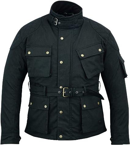 Modernage - Chaqueta de motorista de algodón encerado para hombre, con forro y protecciones, color negro: Amazon.es: Coche y moto