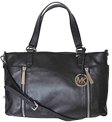 5a48c92afc7a Michael Kors Black Pebbled Leather Crosby Large Satchel Shoulder Tote Bag  Handbag Purse