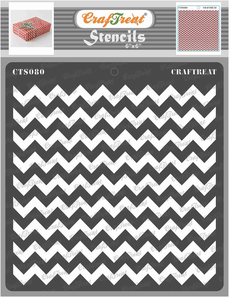 CrafTreat Geometric Stencils for Painting on Wood, Wall, Tile, Canvas, Paper, Fabric and Floor - Chevron Stencil - 6x6 Inches - Reusable DIY Art and Craft Stencils - Chevron Template