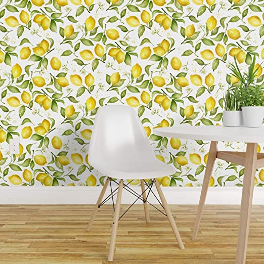 Spoonflower Peel And Stick Removable Wallpaper Lemon Watercolor