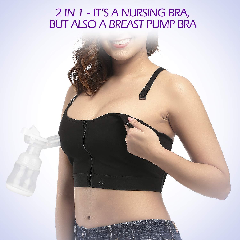 Momcozy Velcro Hands Free Pumping /& Nursing Bra Breast Pump Bra Medium