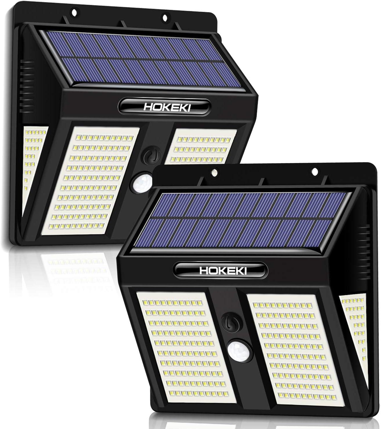 Solar Wall Light, 2pack,HOKEKI Motion Sensor Light,250 LEDs Outdoor Lighting Wireless Wall Light, 3 Adjustable Brightness, Waterproof Design, Easy-to-Install Security Lights for Front Door, Garage