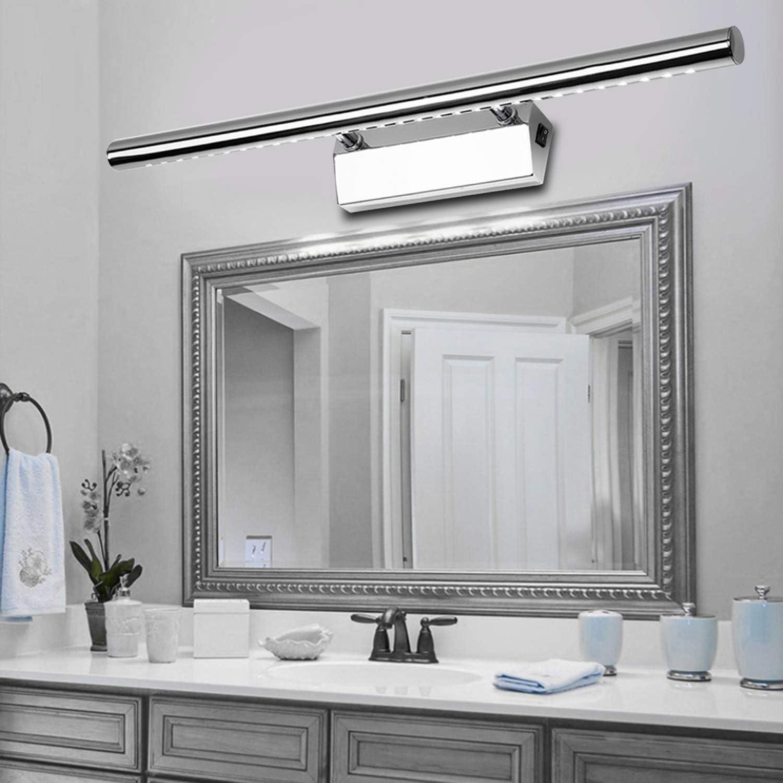 Luminaire Salle de Bain avec Interrupteur Lampe pour Miroir Applique Salle  de Bain led 20cm/20W Blanc Neutre 200lM