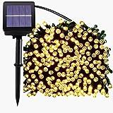 200 luci della stringa solare del LED, impermeabile illuminazione Fata esterno per Natale, Casa, Giardino, Cortile, Patio, Portico, Albero, Partito, Decorazione di Festa,22M, 8 Modalità (Bianco Caldo)
