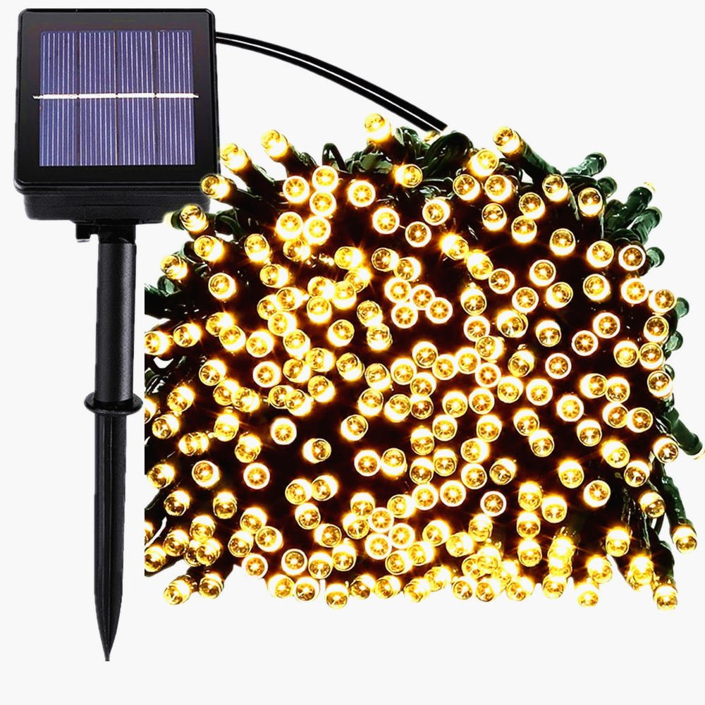 200 LED Solar String Lights, Waterproof Outdoor Fairy lighting for Christmas, Home, Garden, Yard, Patio, Porch, Tree, Party, Holiday Decoration - Warm White, 72FT, 8-in-1 Mode MagicLux Tech LED-T054