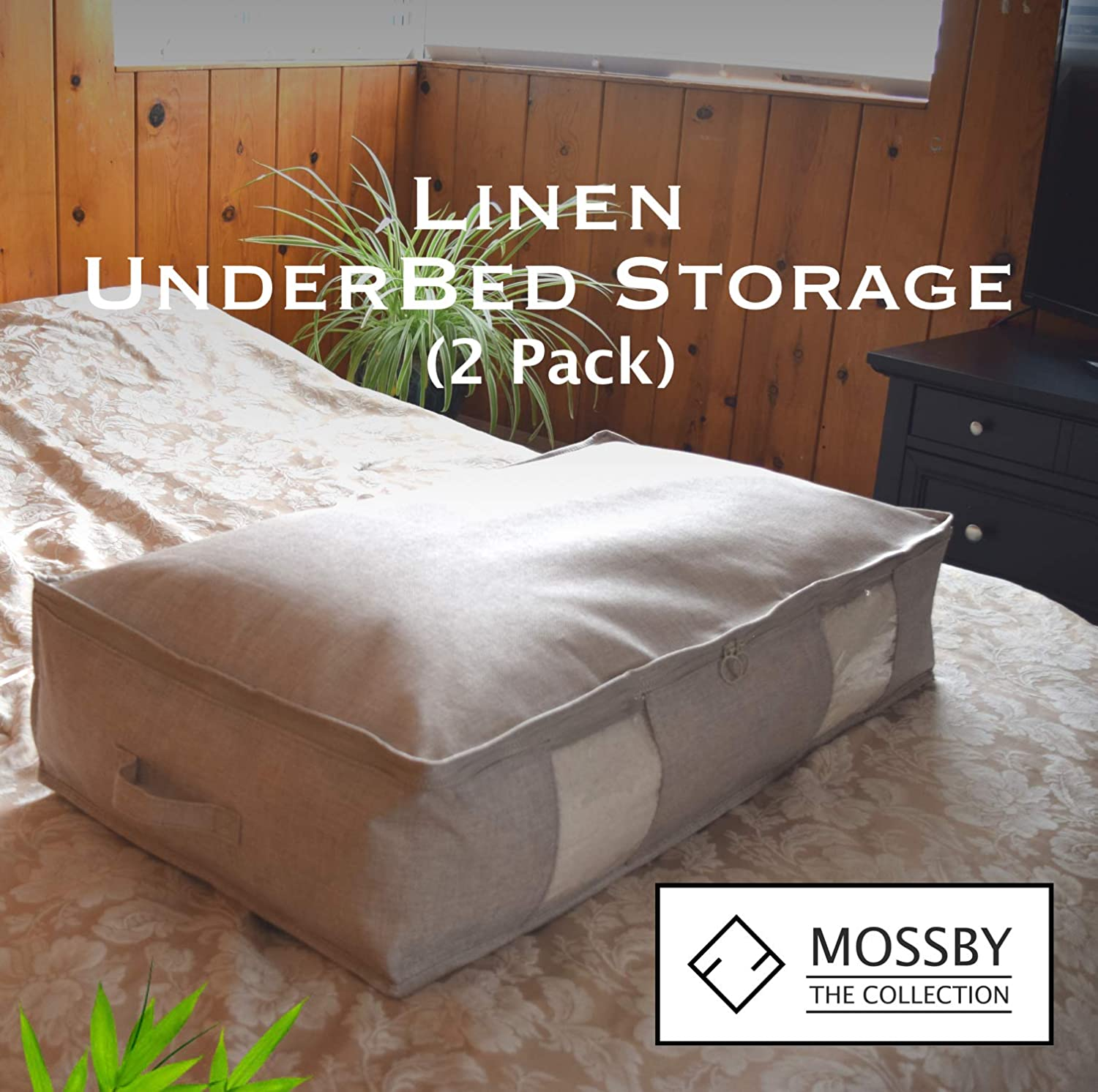 2 Pack Under Bed Storage Containers Breathable Large Foldable Bags with Two Clear Windows and Strong Large Zippers The Mossby Collection Under Bed Storage Clothes Storage