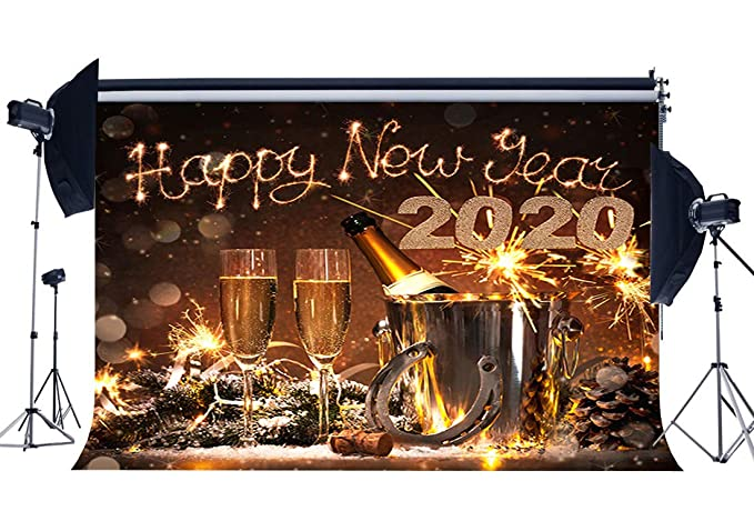 Haoyiyi 5x5ft New Years Eve Party Supplies 2020 Backdrop Gold Golden Shining Bokeh Fireworks Background Photography Kids Newborn Holiday Party Festival Celebration Photo Studio Props Favors