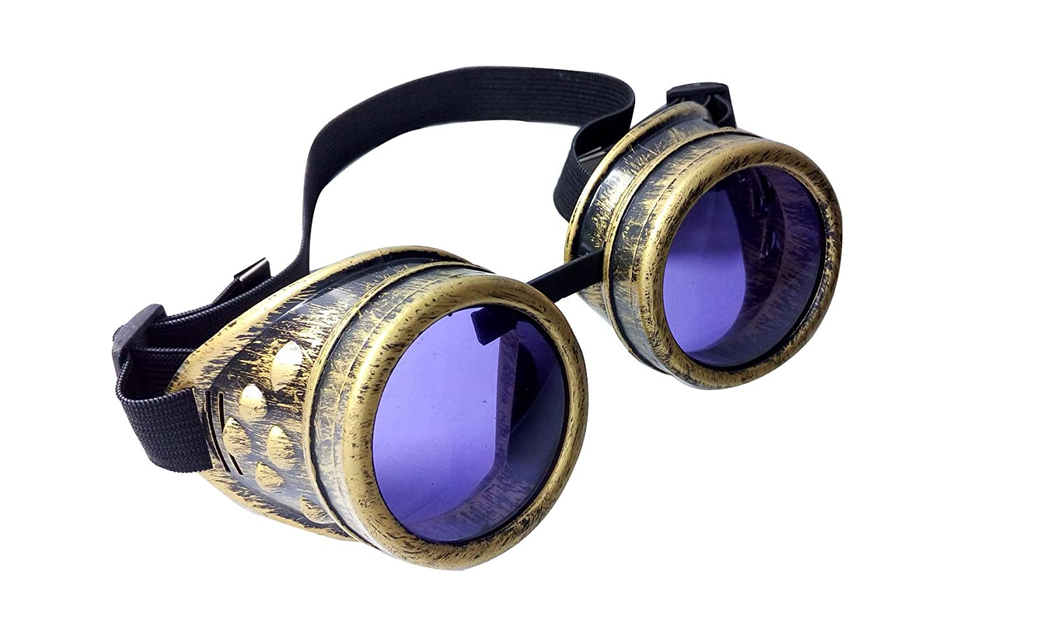 Black Purple MaxAike1 Steampunk Antique Vintage Cyber Goggles Welding Goth Cosplay