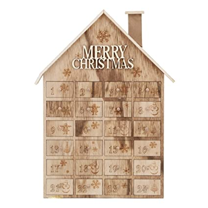 advent calendar house wooden christmas calendar with 24 drawers - Wooden Christmas Advent Calendar