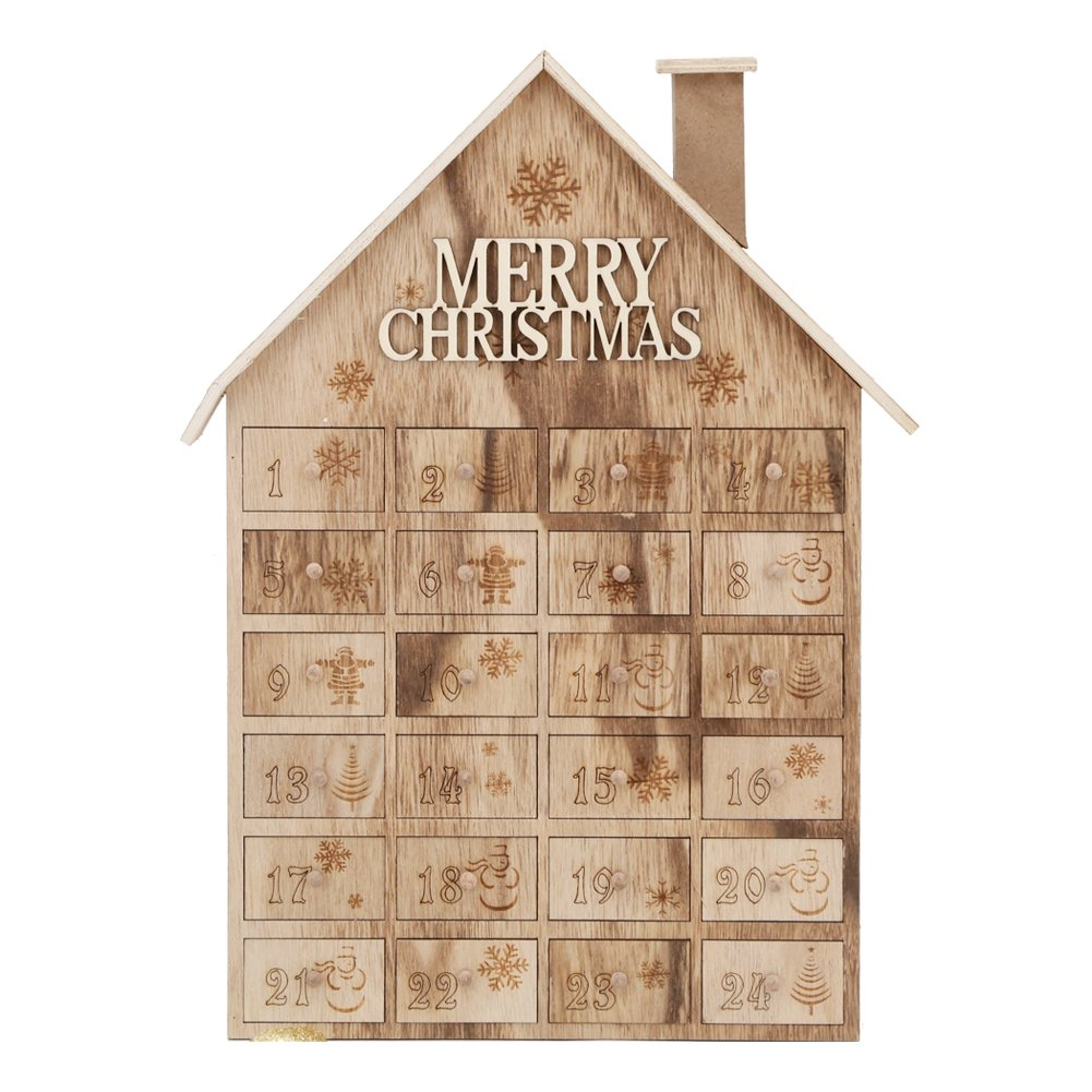 Advent Calendar House Wooden Christmas Calendar with 24 Drawers