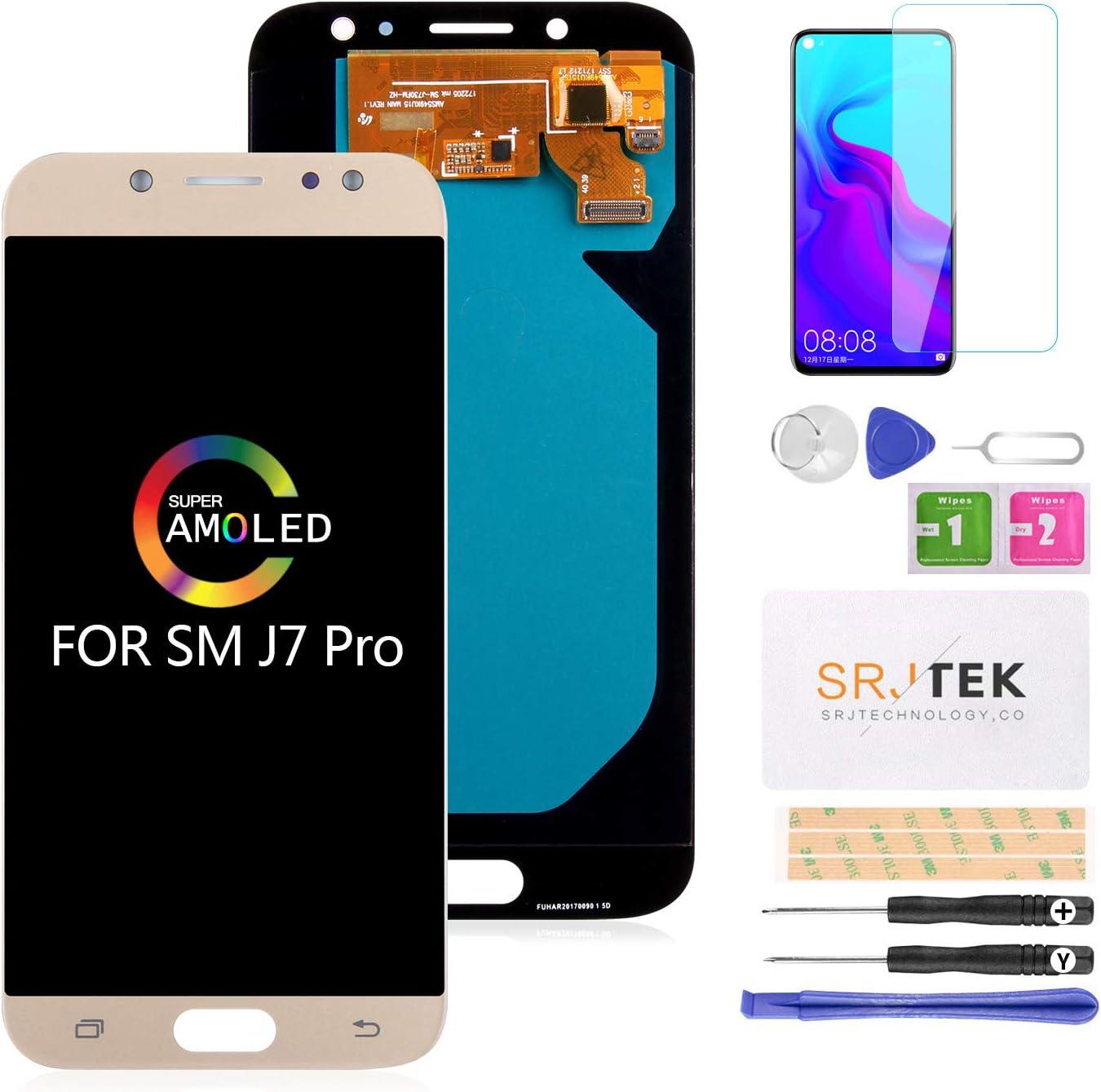 Reemplazo de Pantalla LCD para Samsung J7 Pro SM-J730G / DS, Galaxy J730F J730G J730GM J730DS Super AMOLED Pantalla LCD y Pantalla táctil Digitalizador Reparación de ensamblaje de Partes (Oro): Amazon.es: Electrónica