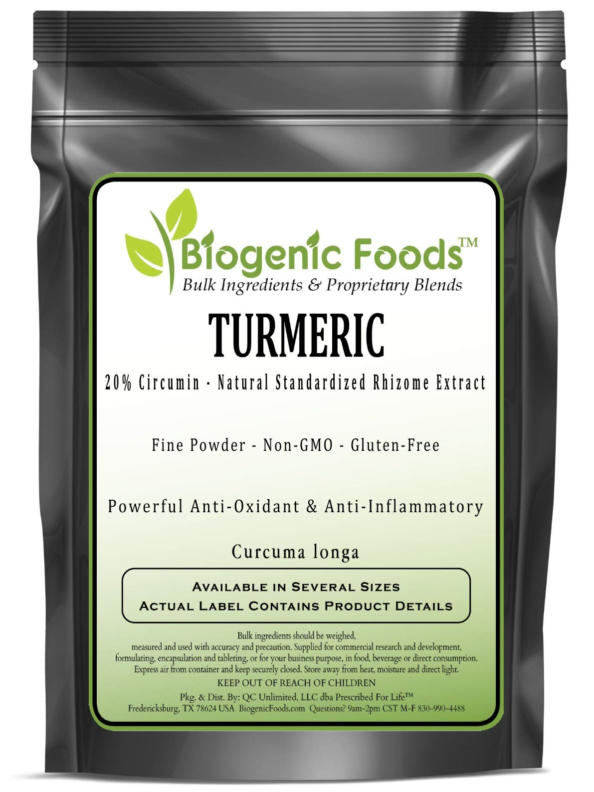 Turmeric - 20% Circumin - Natural Standardized Rhizome Fine Powder Extract (Curcuma Longa), 2 kg