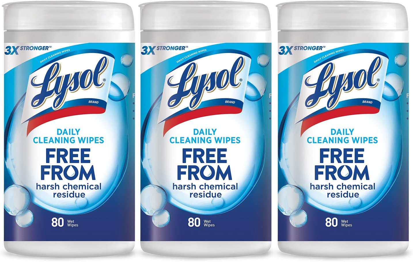 Lysol Daily Cleansing Wipes, 3x80ct,Packaging May Vary