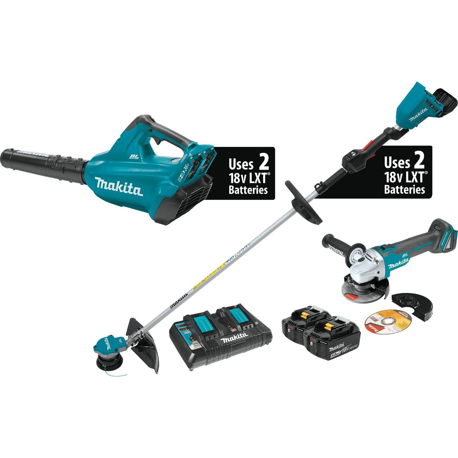 Makita XT277PTX 18V X2 36V LXT Lithium-Ion Brushless Cordless 2-Pc. Combo Kit 5.0Ah and Brushless Angle Grinder