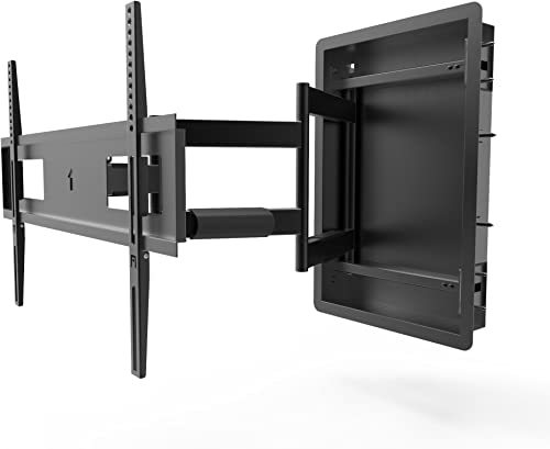 Kanto R500 Recessed In-Wall Full Motion Articulating TV Mount for 46-inch to 80-inch TVs Ultra Low Profile Swivel and Tilt Capable Cable Management for Clean Setup