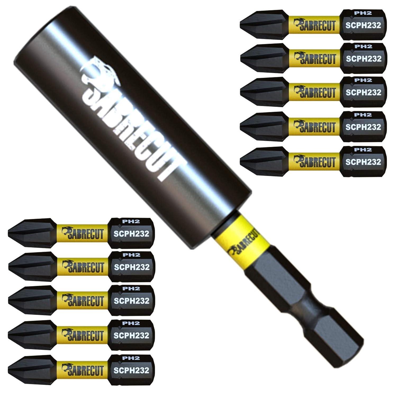SabreCut SCRK5 - Juego de 11 brocas de impacto magnéticas (32 mm ...