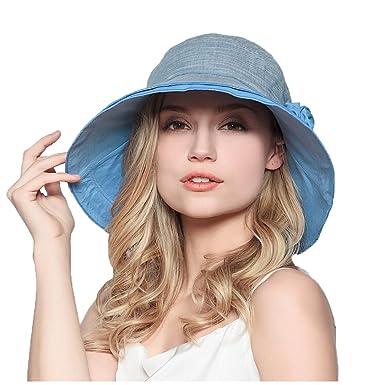 Maitose Trade  Women s Wide Brim Foldable Sun Hat Blue at Amazon ... e4fb710d7259