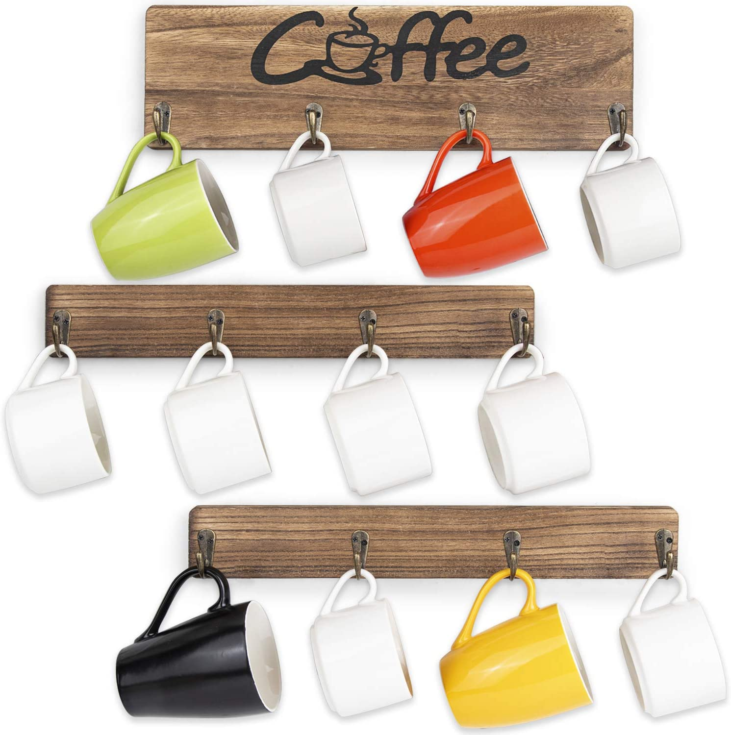 Amazon Com Olakee Coffee Mug Holder Rustic Mug Rack Wall Mounted With Coffee Sign 12 Coffee Cup Hangers For Kitchen Organizer Coffee Nook Decor Carbonized Black Home Improvement