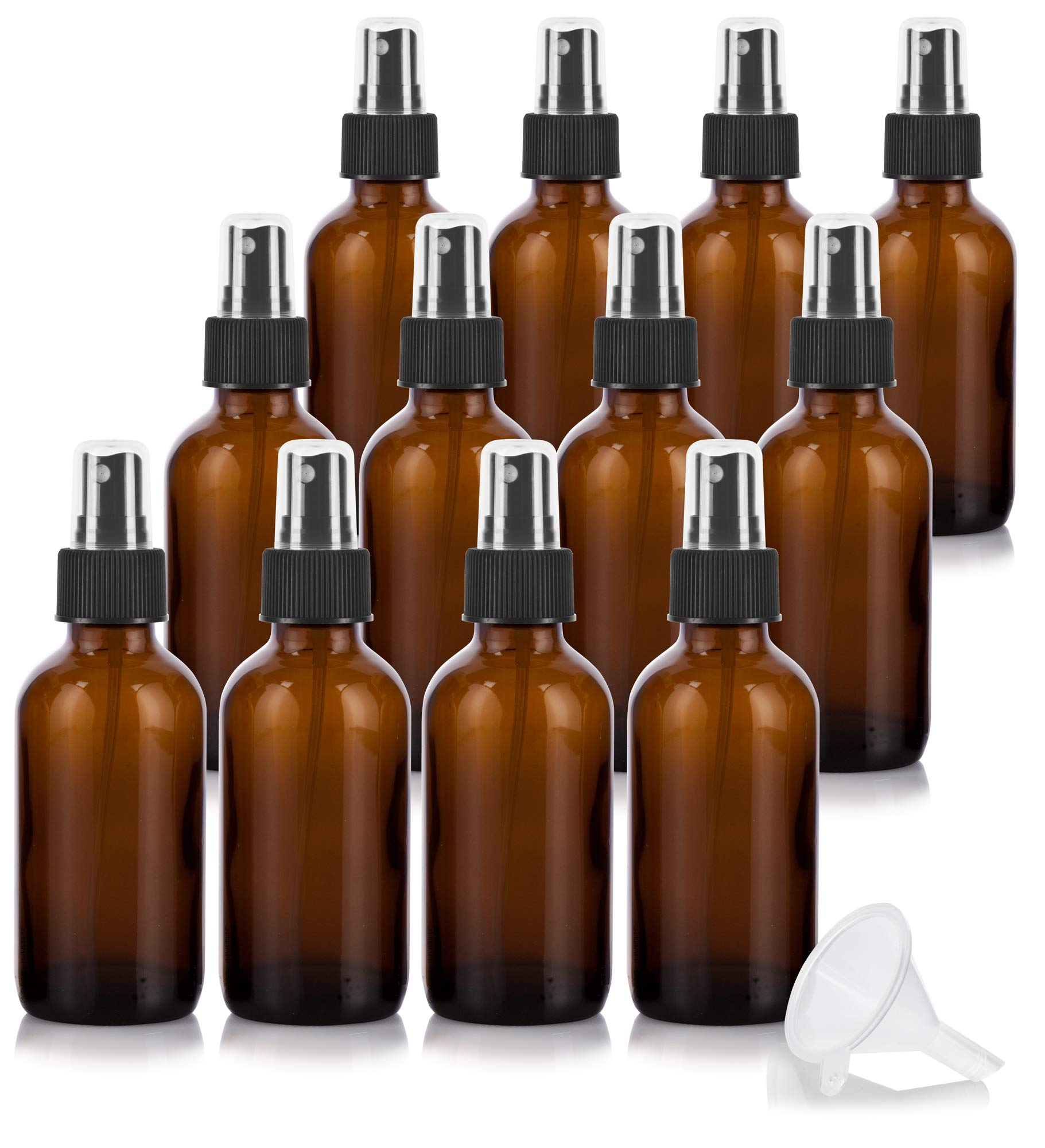 4 oz Amber Glass Boston Round Fine Mist Spray Bottle (12 Pack) + Funnel for Essential Oils, Aromatherapy, Food Grade, bpa Free by JUVITUS