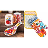 The Pioneer Woman Flea Market Floral Spoon Rest,Salt & Pepper Shakers and Oven Mitt/Pot Holder (5 pc set)