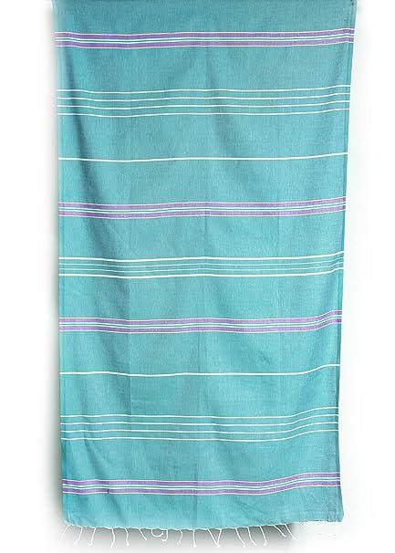 Cacala Toalla de baño turca Paradise Series, algodón, Aqua/Purple, 95 x 175 x 0.5 cm: Amazon.es: Hogar