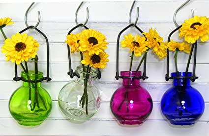 Image Unavailable & Amazon.com: Colored Glass Hanging Flower Wall Vases G77 Lot of 4 ...
