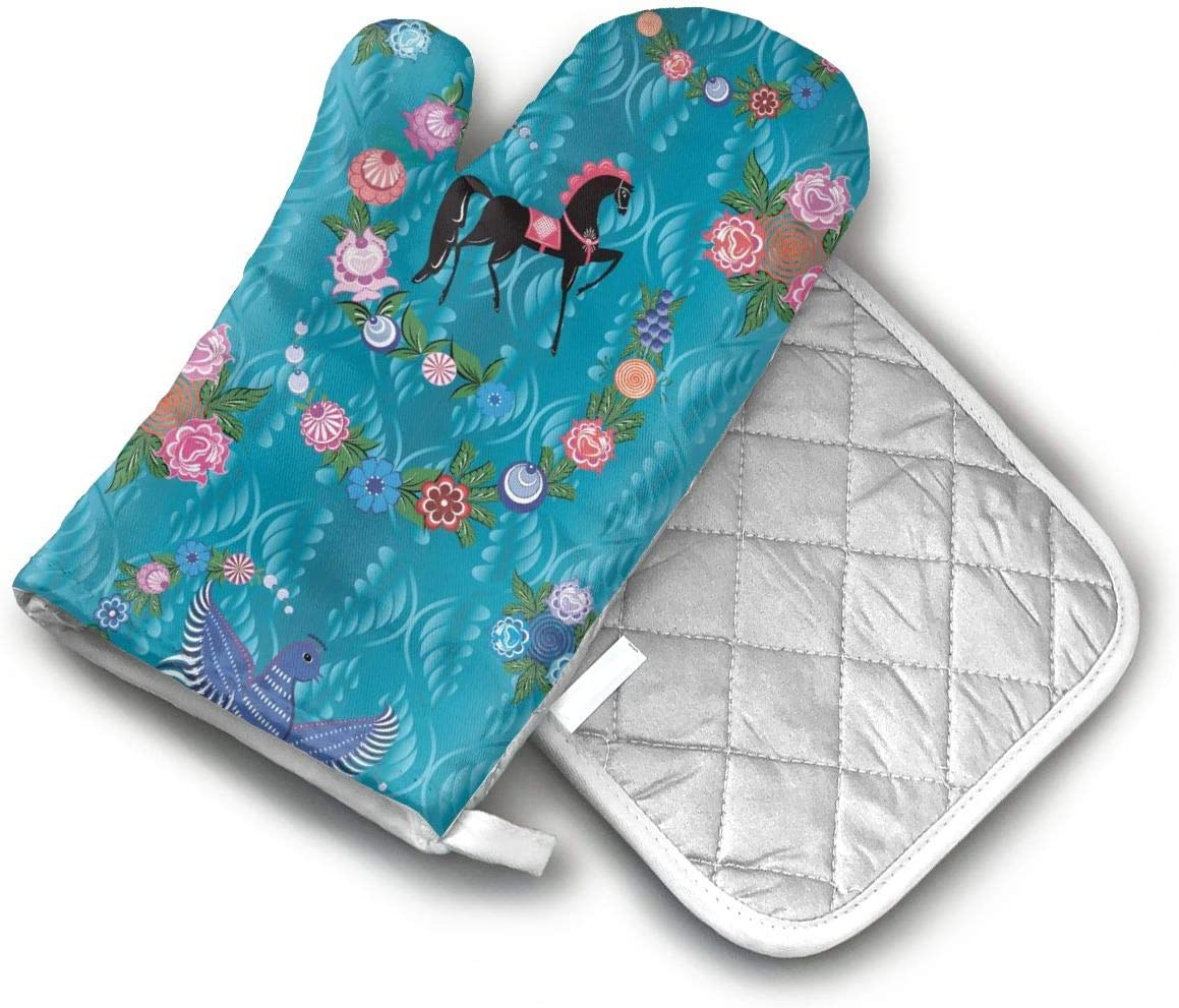 Horse Flower Picture Oven Mitts with Potholders Oven Gloves for Cooking BBQ Baking